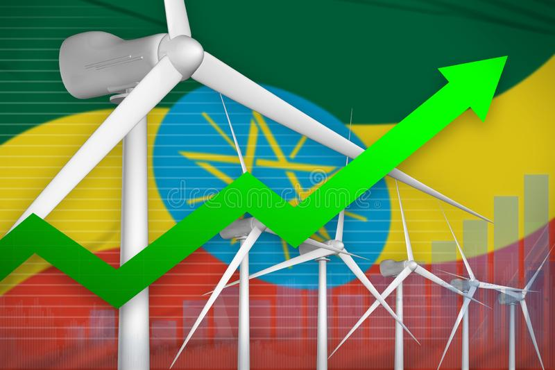 Ethiopia wind energy power rising chart, arrow up - environmental natural energy industrial illustration. 3D Illustration stock illustration