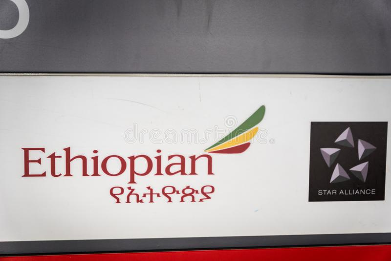 Ethiopian Airlines incheckningsdisklogo arkivbilder