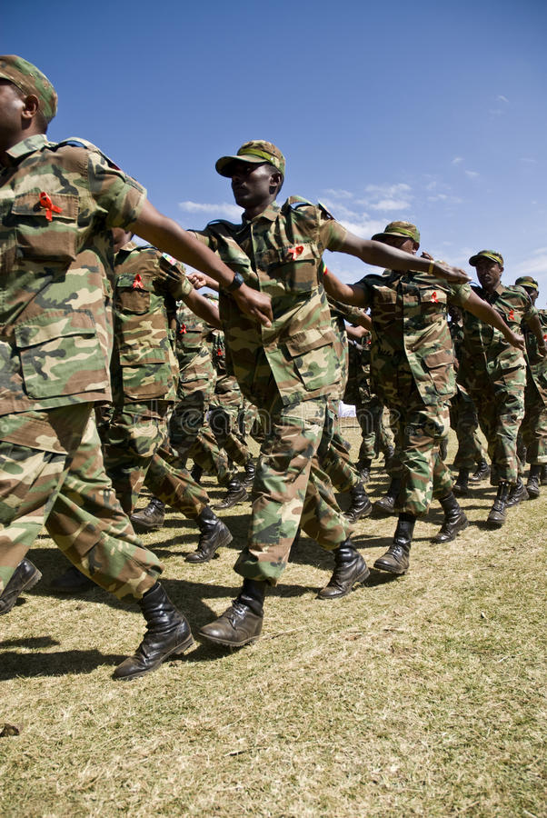 Ethiopian Army Soldiers Marching Editorial Photo