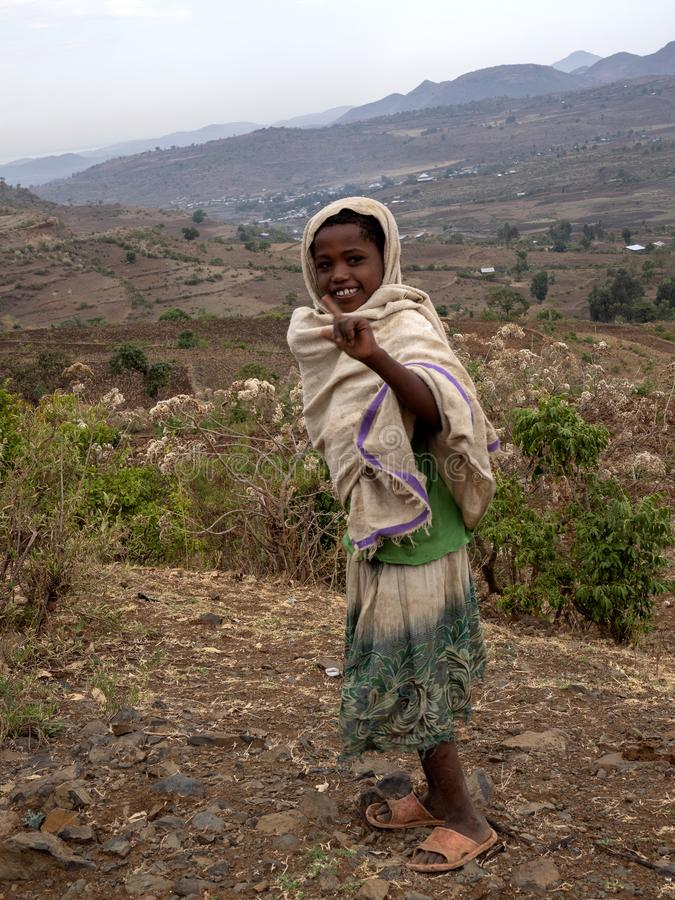 ETIOPIE, APRIL 22th.2019, Ethiopian children, often standing by the road and thinking about sweets  ,April 22th. 2019, , Etiopia. Ethiopian children, often royalty free stock photos