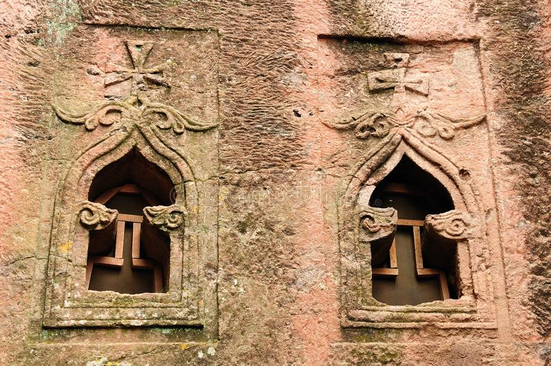 Lalibela in Ethiopia. Ethiopian church carve in solid rock in Lalibela. Facade of the Bet Giyorgis anciet orthodox church stock photography