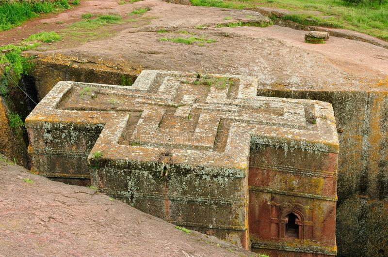 Holy place Lalibela in Ethiopia. Ethiopian church carve in solid rock in Lalibela. St. George anciet orthodox church royalty free stock photography