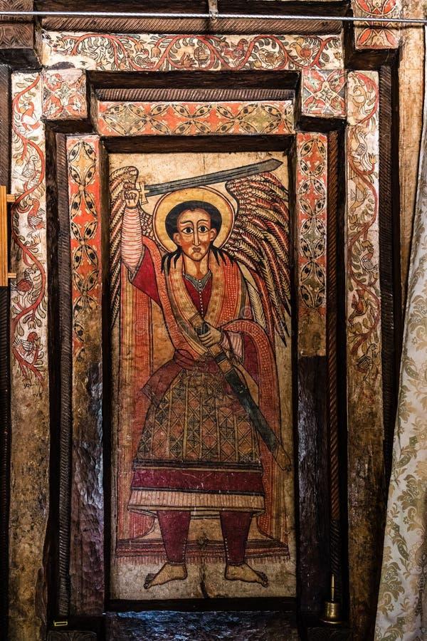 An ethiopian church on the way from Bahir Dar to Gondar, Ethiopia stock photos