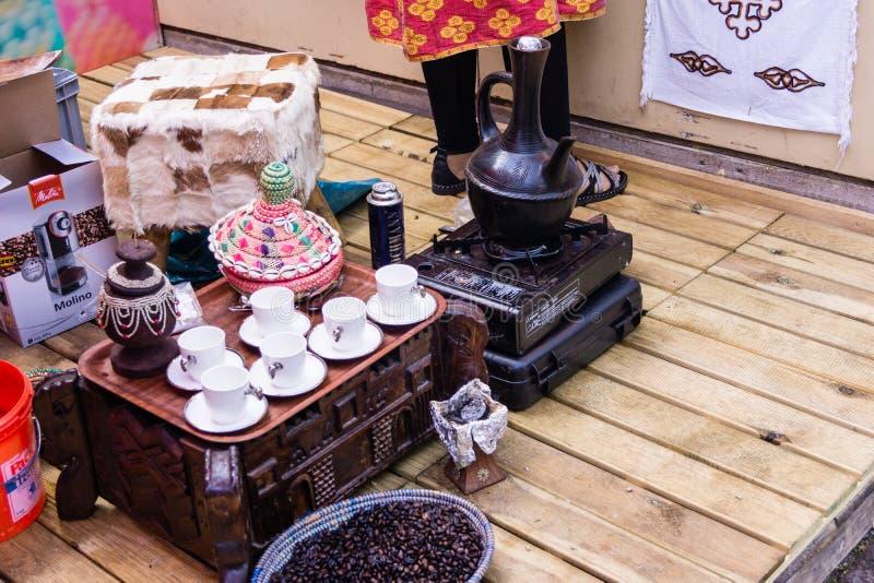 Ethiopian coffee ceremony. Kiel, Germany - June 27th 2019: Ethiopian coffee ceremony on the 125th Kiel Week royalty free stock photography