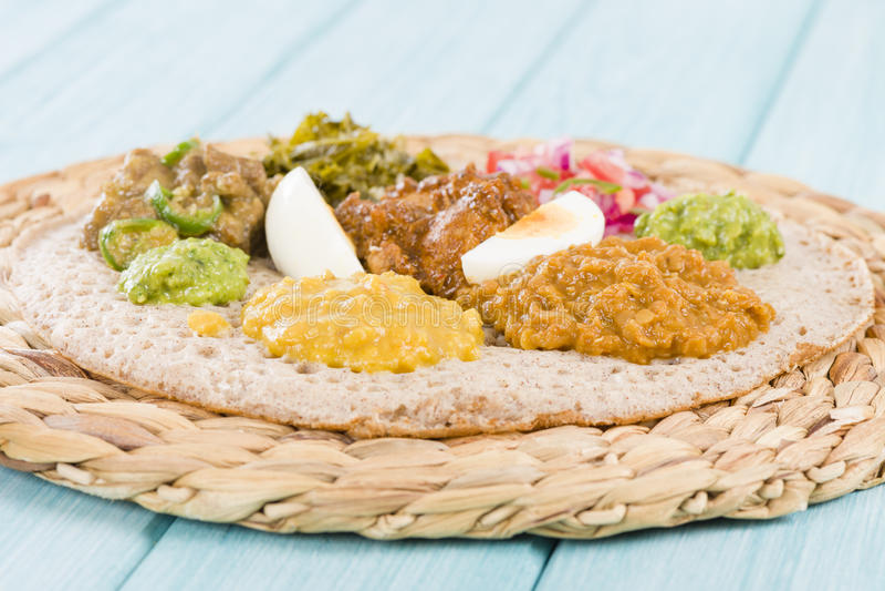 Ethiopian Feast - Injera stock image