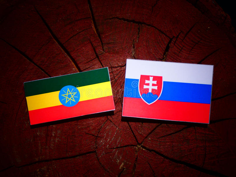 Ethiopian flag with Slovakian flag on a tree stump isolated. Ethiopian flag with Slovakian flag on a tree stump stock images