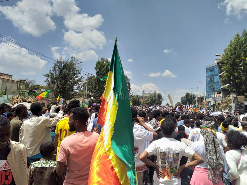 Ethiopian men and women celebrating the 123rd anniversary of Ethiopia`s victory of Adwa over the invading Italian force stock images
