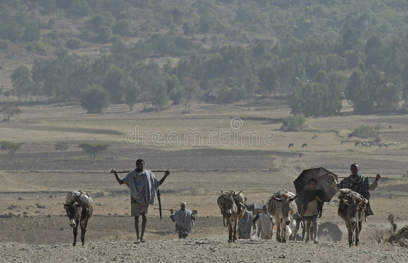 Ethiopian people on the road stock photo