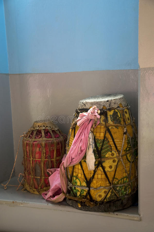 Ethiopian Traditional drums. Colorful Ethiopian authentic Traditional drums stock image
