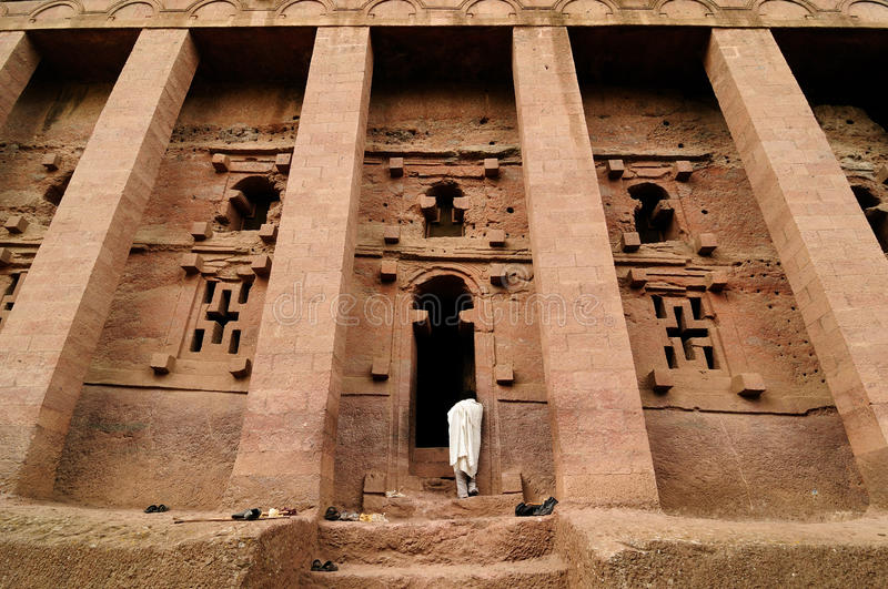 Ethiopians di fede ortodossa in Lalibela fotografia stock
