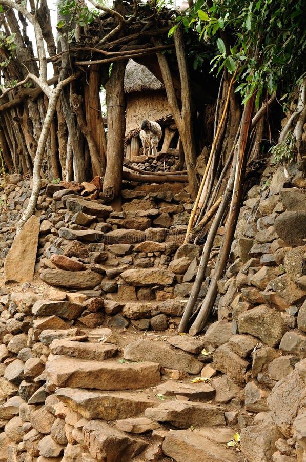 Ethiopisch dorp in Omo-vallei royalty-vrije stock afbeeldingen