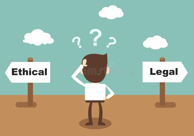 Ethisch en Wettelijk - zakenman Status bij crossro wordt verward die stock illustratie