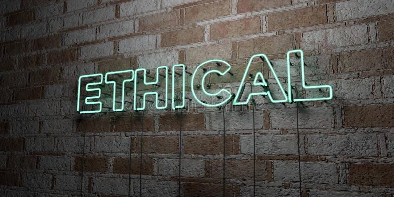 ETHISCH - Gloeiend Neonteken op metselwerkmuur - 3D teruggegeven royalty vrije voorraadillustratie vector illustratie