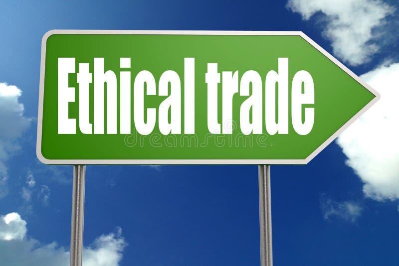 Ethisch handelswoord op groene verkeersteken royalty-vrije illustratie