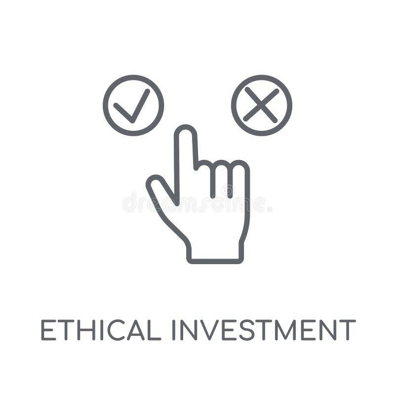 Ethisch investerings lineair pictogram Het moderne Ethische overzicht investmen vector illustratie