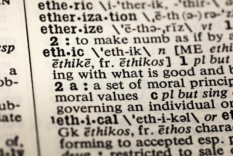 Ethisch moreel de definitiewoordenboek van de ethiekethiek royalty-vrije stock afbeeldingen
