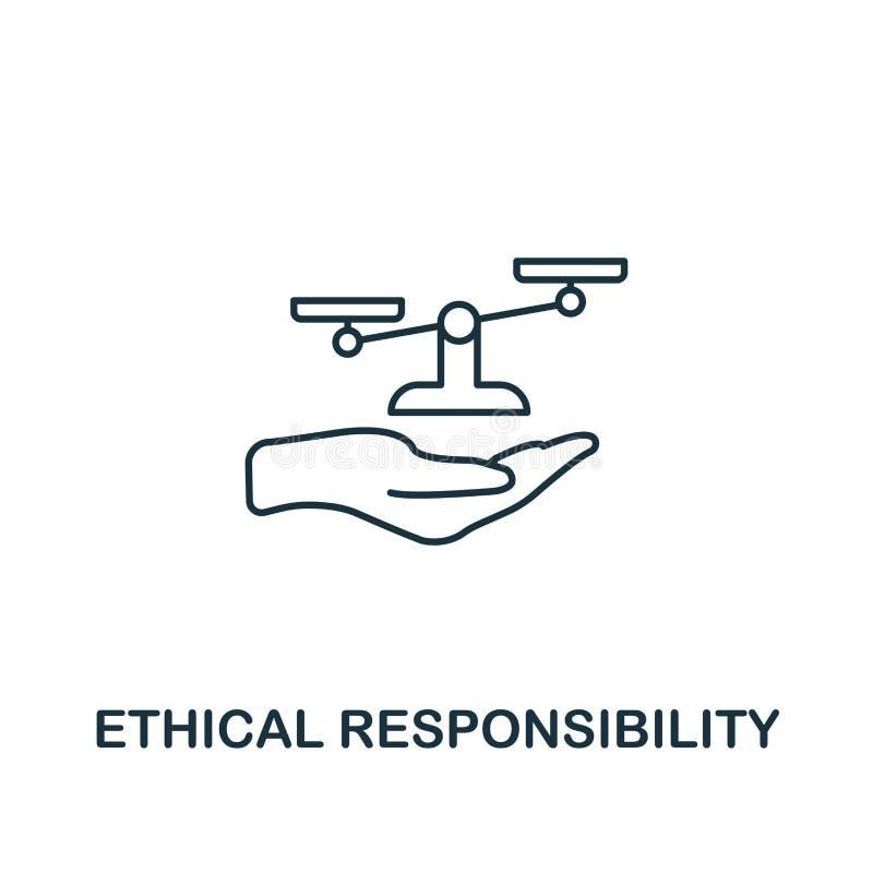 Ethisch Verantwoordelijkheidspictogram Het dunne symbool van het lijnontwerp van de inzameling van bedrijfsethiekpictogrammen Pix stock illustratie