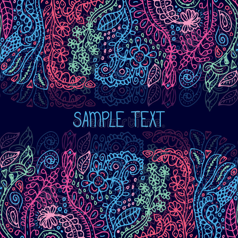 Ethnic abstract floral vector seamless pattern frame. Can be used for banner, card, poster, invitation, label etc. Ethnic abstract floral vector seamless royalty free illustration