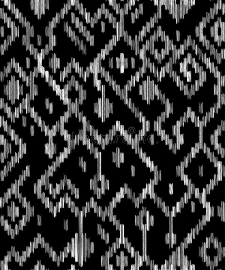 Ethnic abstract geometric ikat worn out pattern in black and white, vector. Ethnic abstract geometric ikat worn out fabric pattern in black and white, vector stock illustration