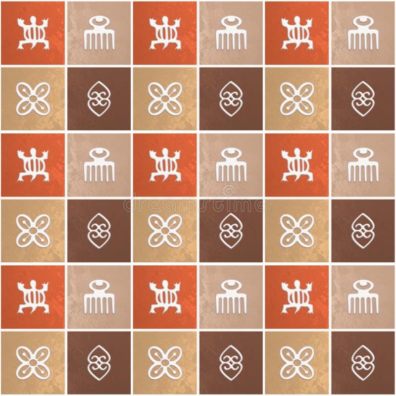 Ethnic african pattern with Adinkra simbols stock photos