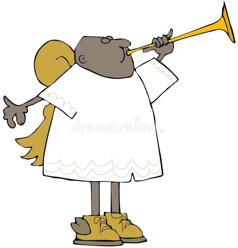 Ethnic angel playing a brass horn royalty free illustration