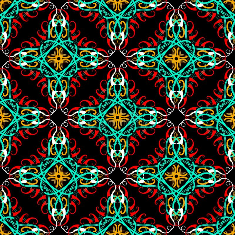 Ethnic arabesque seamless pattern. Vector ornamental arabic style background. Tribal decorative backdrop. Hand drawn floral. Vintage ornament. Line art tracery stock illustration