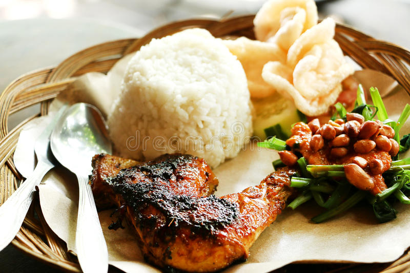 Ethnic asian food of Bali- Spicy grilled chicken stock photo