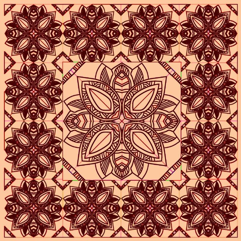 Ethnic bandana print z kolorowym kwiatem geometrycznym Ornament plemienny Szalik lub chustka z jedwabnego karku ilustracja wektor