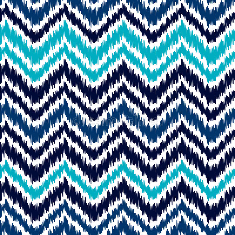 Ethnic blue and white ikat abstract geometric chevron pattern, vector. Background stock illustration