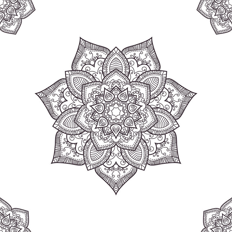 Ethnic boho seamless-pattern, coloring pages template. Vector il royalty free stock photography