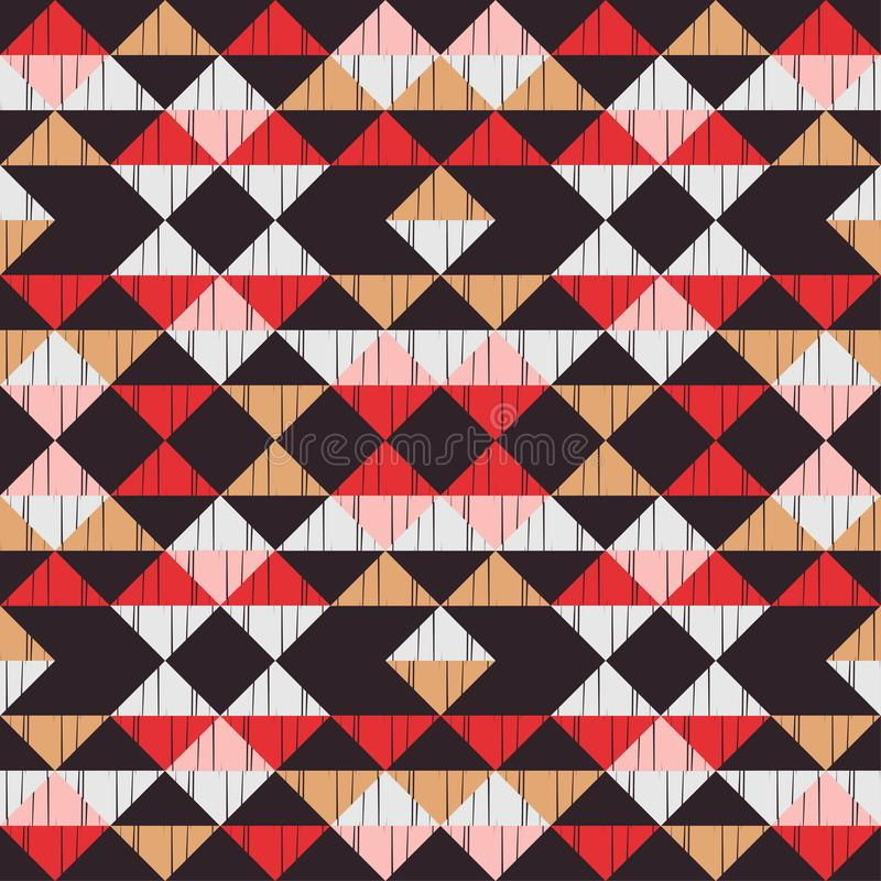 Ethnic boho seamless pattern. Embroidery on fabric. Patchwork texture. Weaving. Traditional ornament. Tribal pattern. Folk motif. Can be used for wallpaper vector illustration