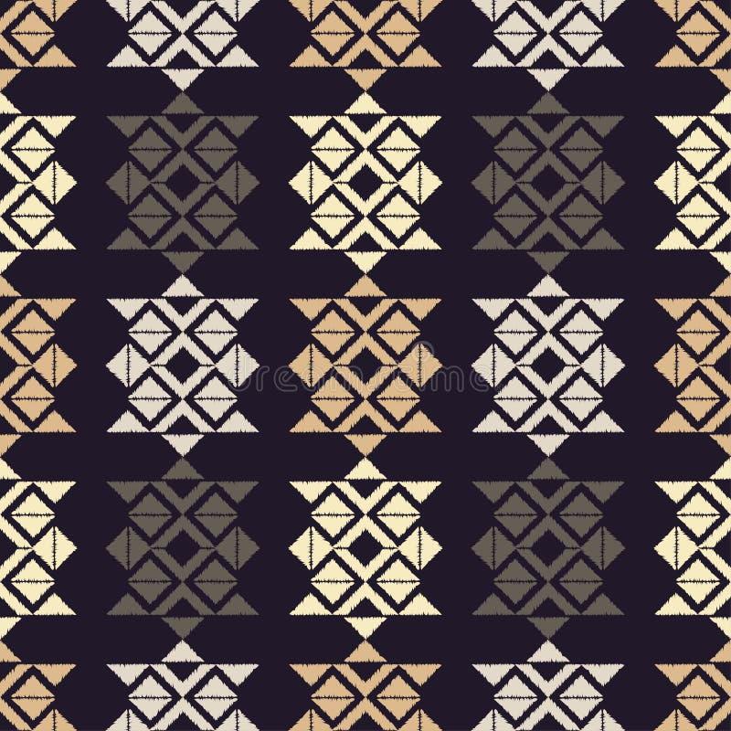 Ethnic boho seamless pattern. Hand hatching. Traditional ornament. Geometric background. Tribal pattern. Folk motif. Textile rapport stock illustration