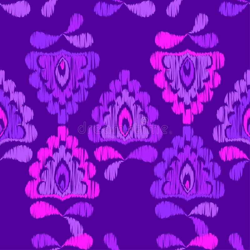 Ethnic boho seamless pattern. Ikat. Flowers. Traditional ornament. Geometric background. Folk motif. royalty free illustration