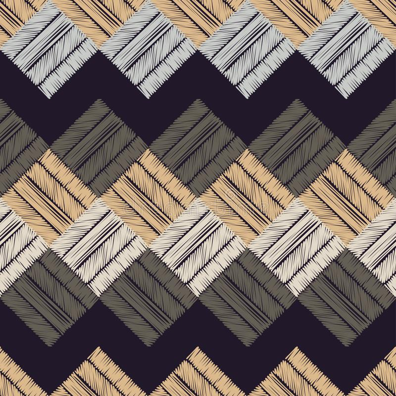 Ethnic boho seamless pattern. Patchwork texture. Weaving. Traditional ornament. Tribal pattern. Folk motif. Can be used for wallpaper, textile, invitation card royalty free illustration