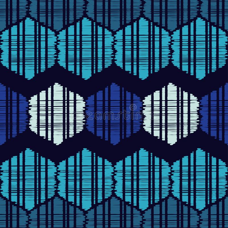 Ethnic boho seamless pattern. The shapes of blue hexagons. Traditional ornament. Tribal pattern. Folk motif. Can be used for wallpaper, textile, invitation vector illustration