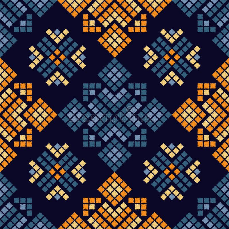 Ethnic boho seamless pattern. Traditional ornament. Geometric background. Tribal pattern. Folk motif. Textile rapport stock illustration