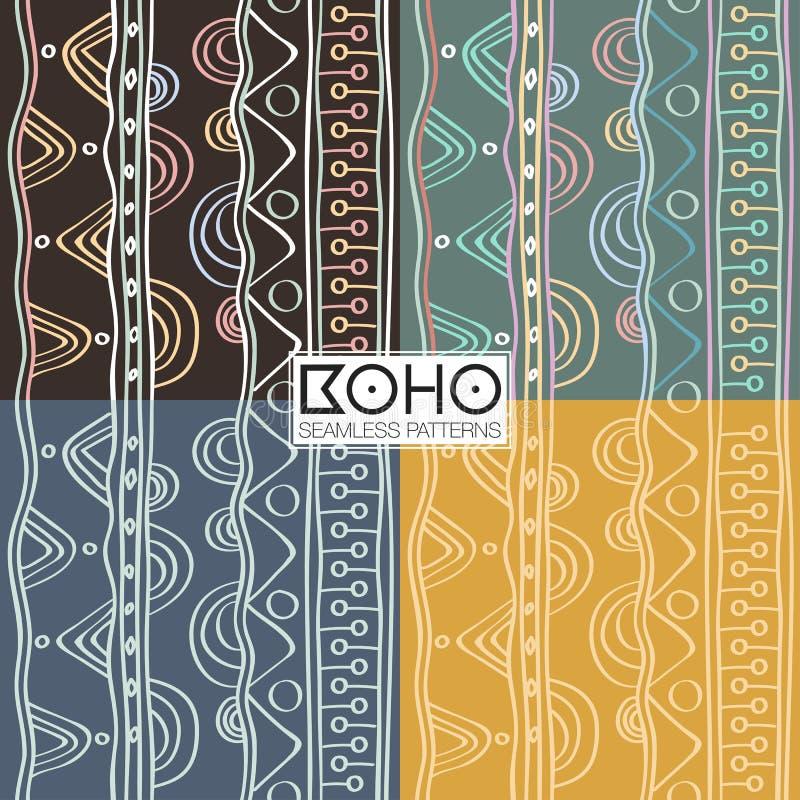 Ethnic boho seamless patterns. Vintage ornament. Vector illustration. stock illustration