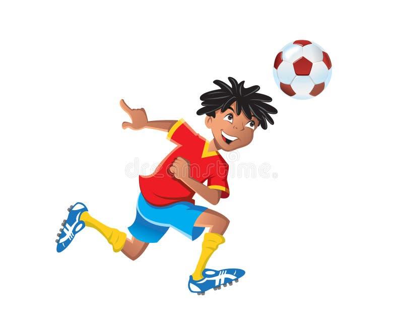 Ethnic boy playing soccer vector illustration