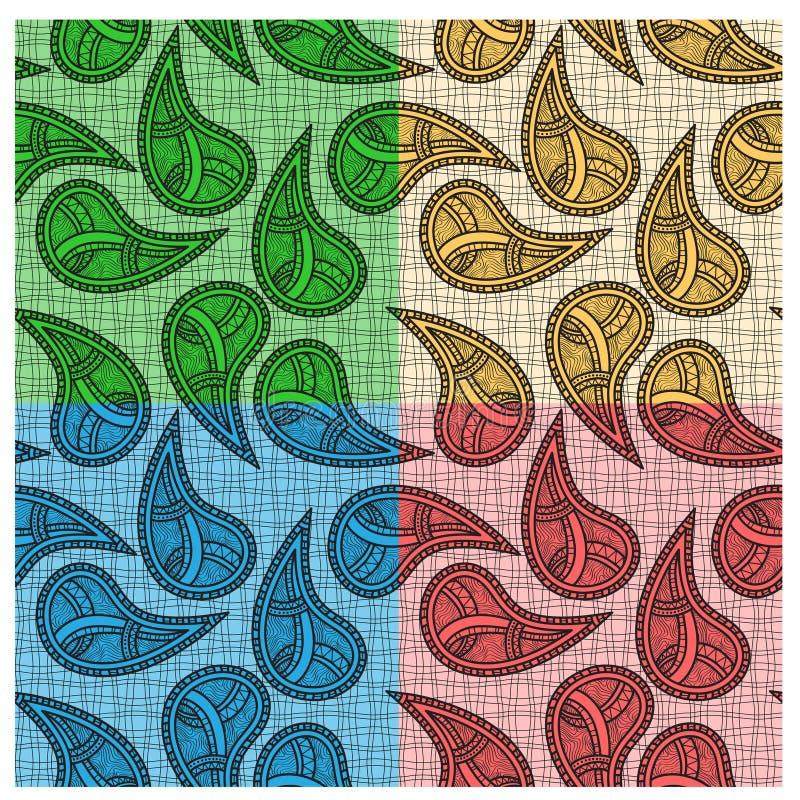 Ethnic bright seamless paisleys vector illustration