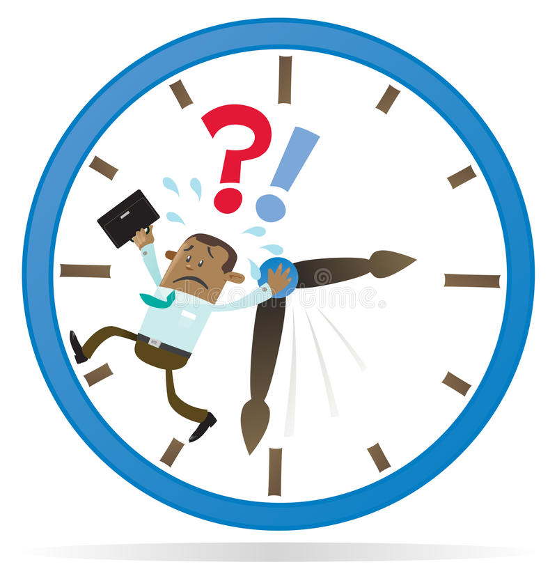 Ethnic Business Buddy is Running out of Time. Illustration of an Ethnic Business Buddy clearly very distressed as he is running out of time in his giant vector illustration