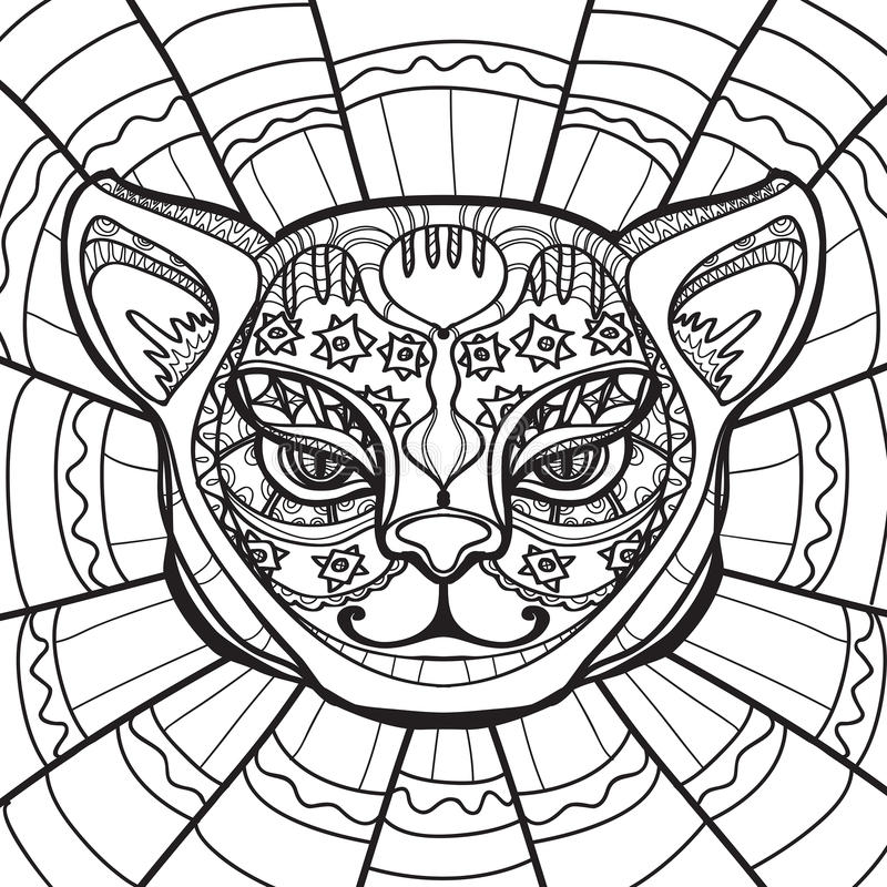 Ethnic cat cat head hand drawn illustration in zentangle for Cat head coloring page