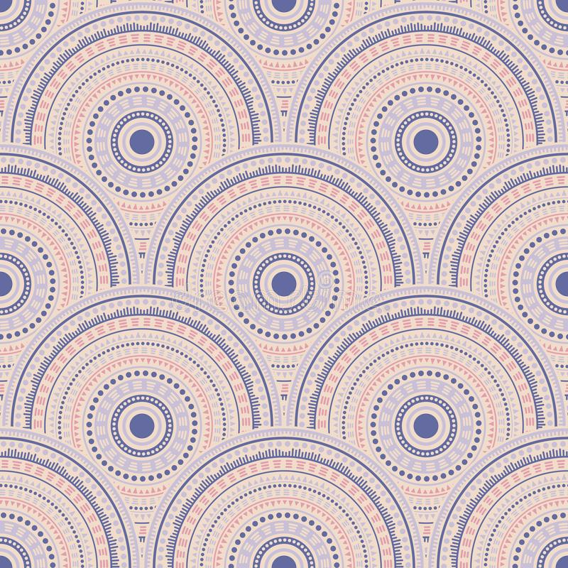 Ethnic circle shapes seamless geometric pattern. royalty free illustration