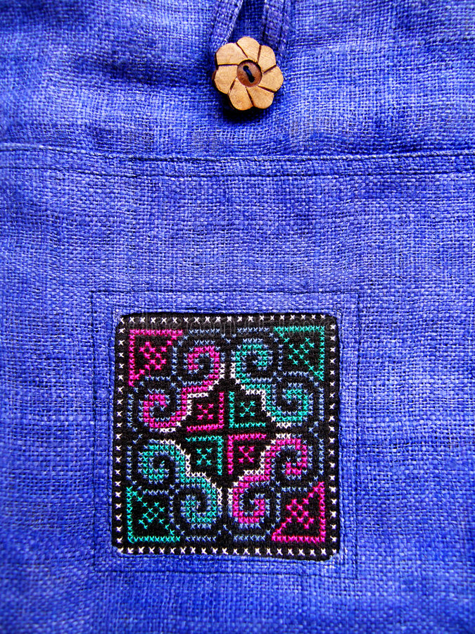 Download Ethnic Cross Stitch Pattern On Bag Stock Image - Image: 5127863