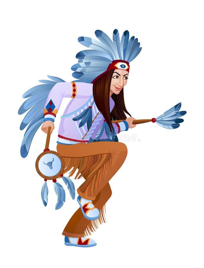 Ethnic dance of cartoon Injun vector illustration