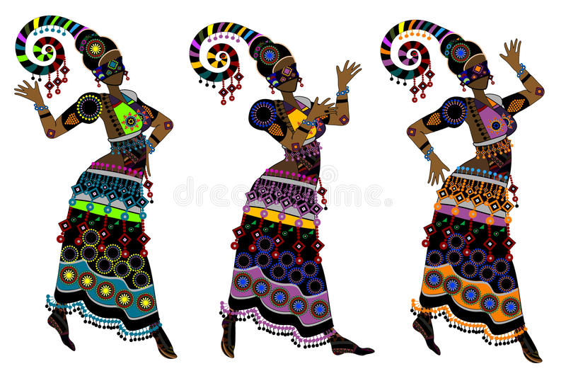 Ethnic dance. Women in ethnic style dancing on a white background vector illustration