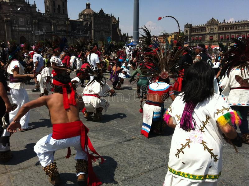 Ethnic dancing celebration at Zocalo Square in Mexico City royalty free stock images