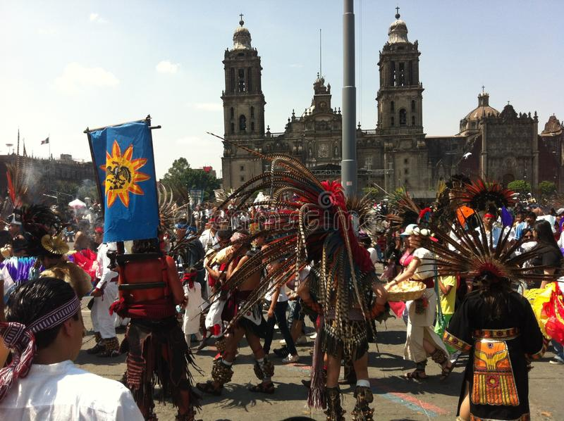Ethnic dancing celebration at Zocalo Square in Mexico City stock photography