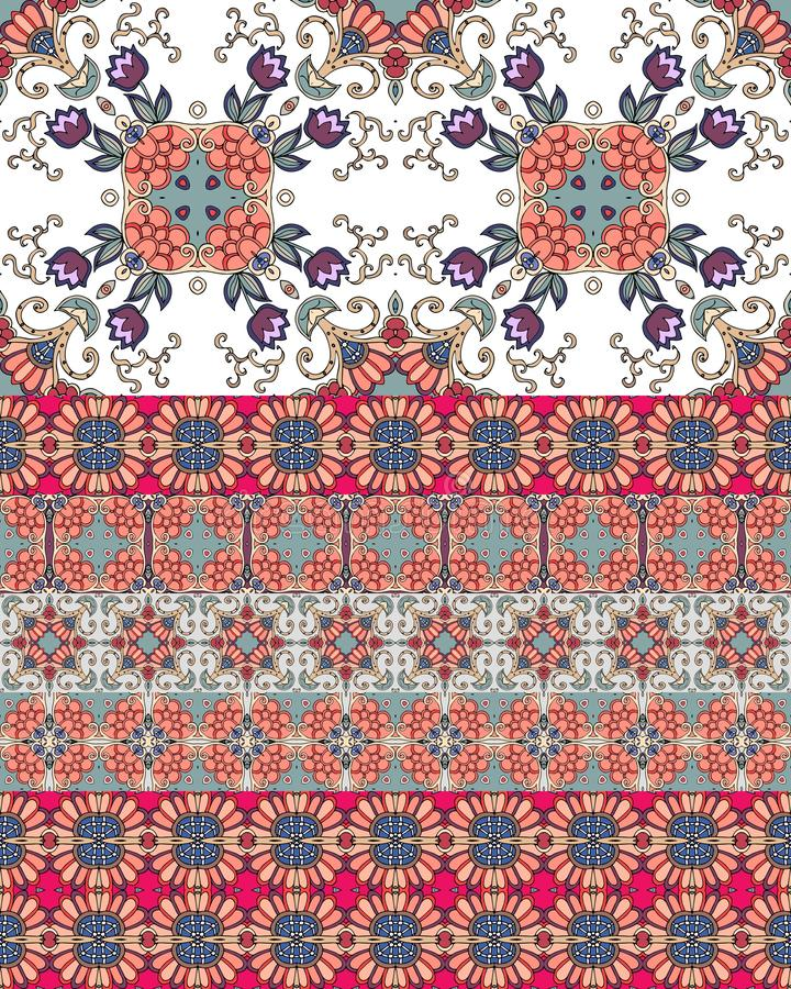 Ethnic endless ornamental pattern with tulip flowers and bright border. Print for fabric. Vector design.  royalty free illustration