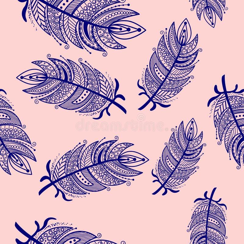 Ethnic feathers zentangle Seamless Pattern stock illustration
