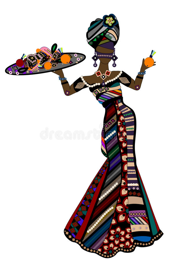 Ethnic festival. Woman in ethnic style treats you with their food royalty free illustration